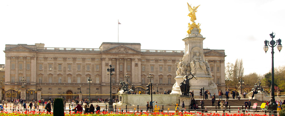 Buckingham Palace, the London home of the queen