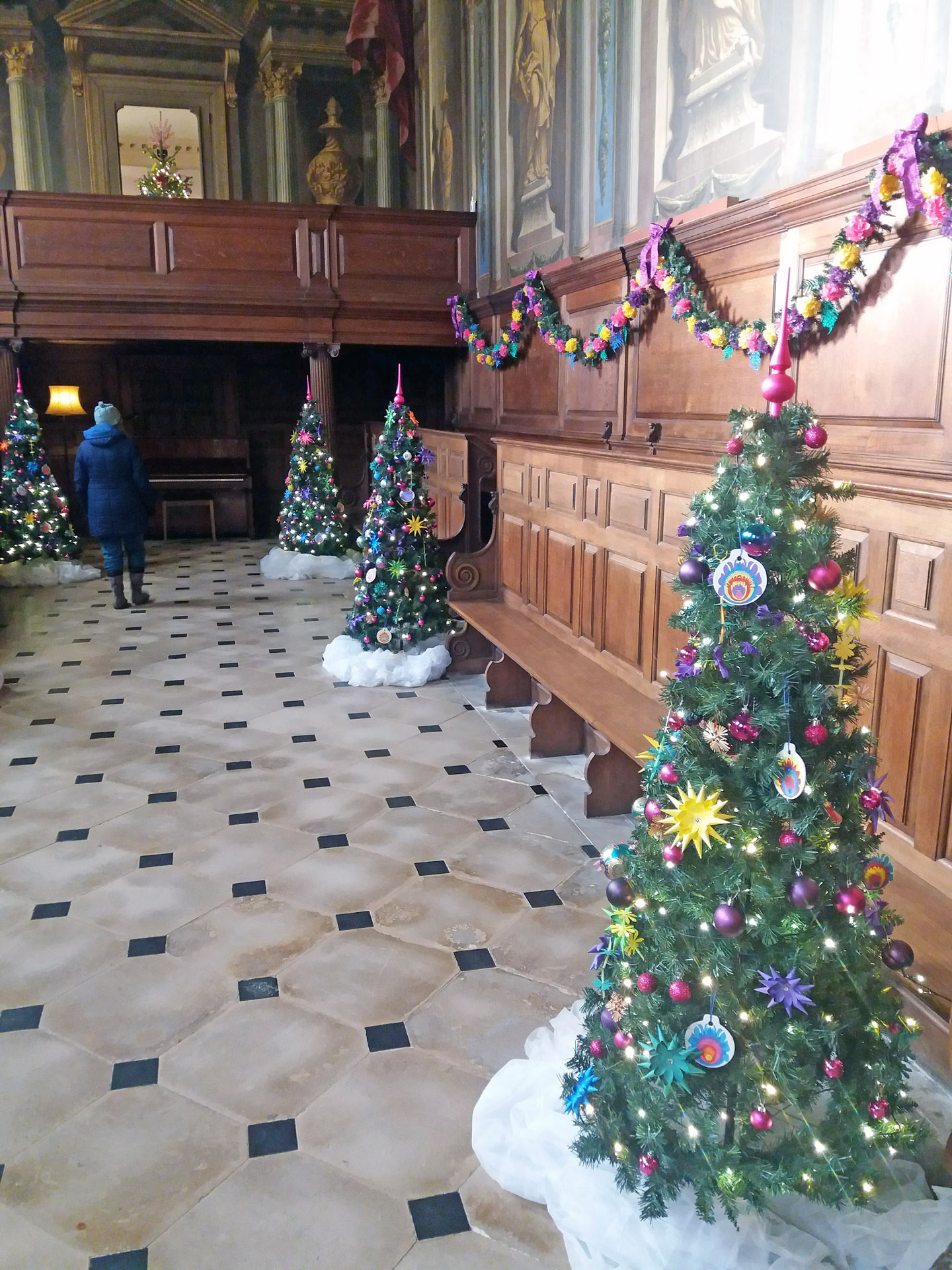 Christmas Wimpole Hall decorated church