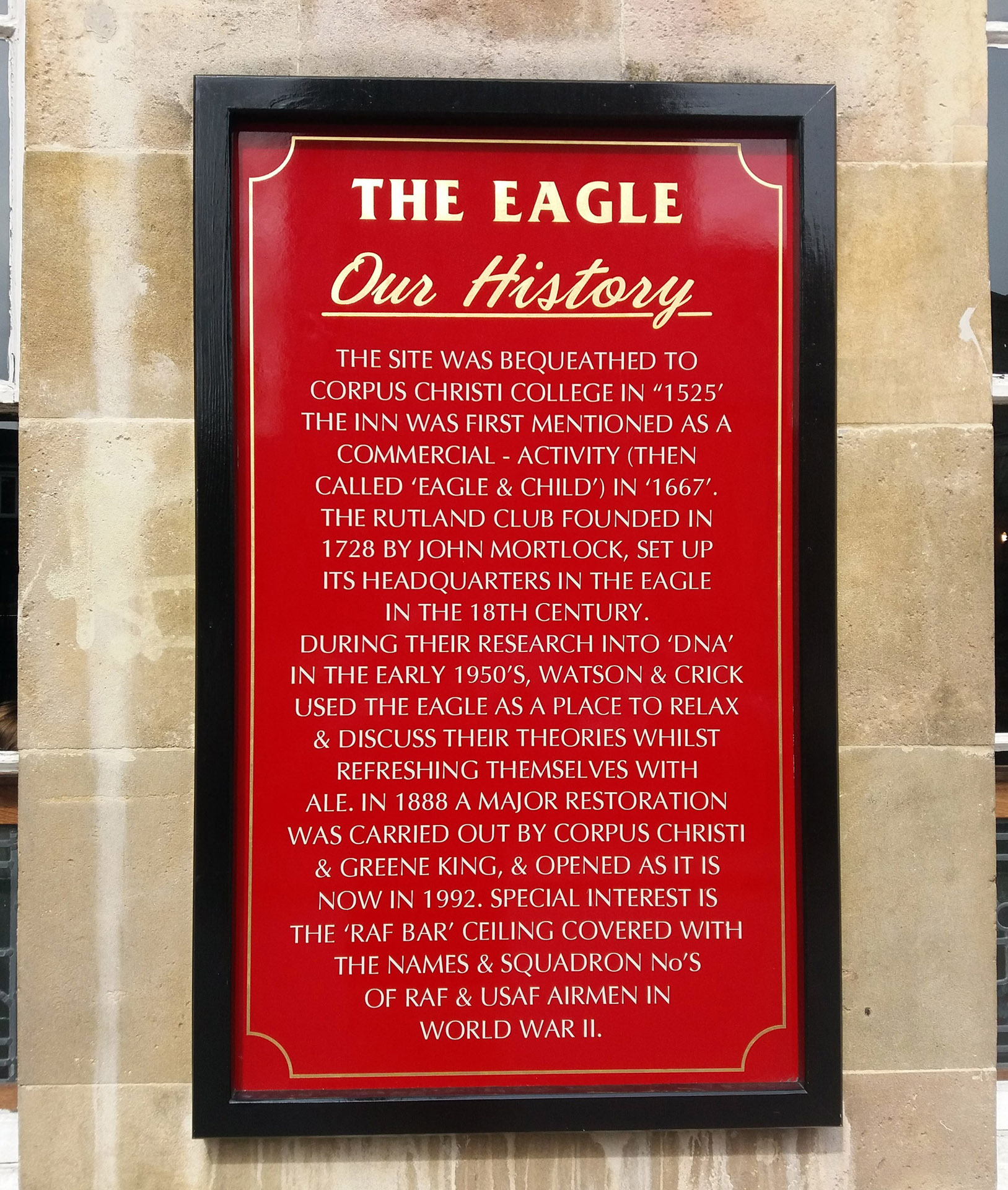 The Eagle pub hundreds years old recent history