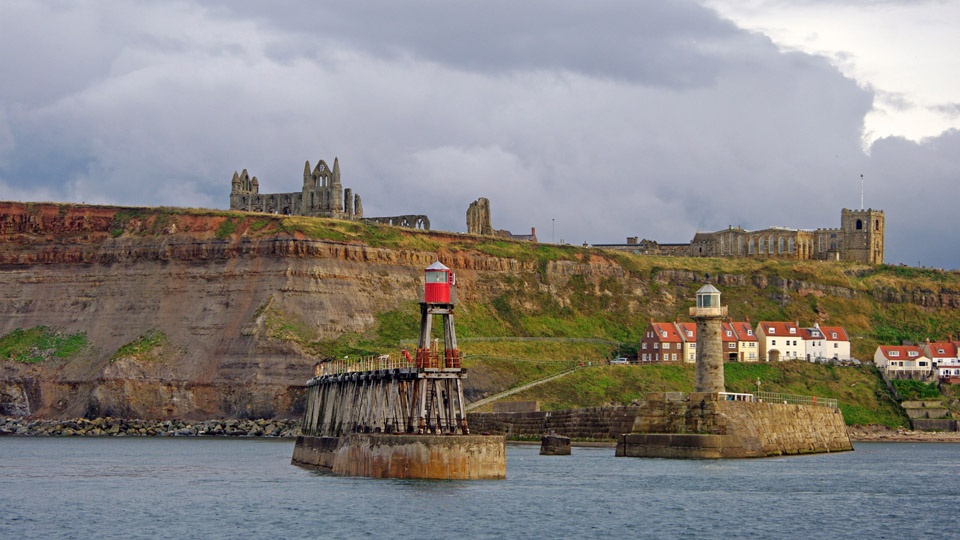 Harbour entrance and ruins of Whitby Abbey