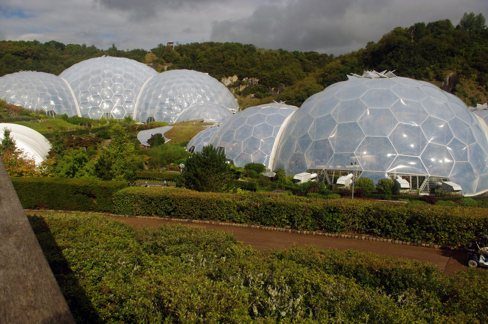 cornwall Eden Project Cornwall Biomes botanical theme park created from disused quarry