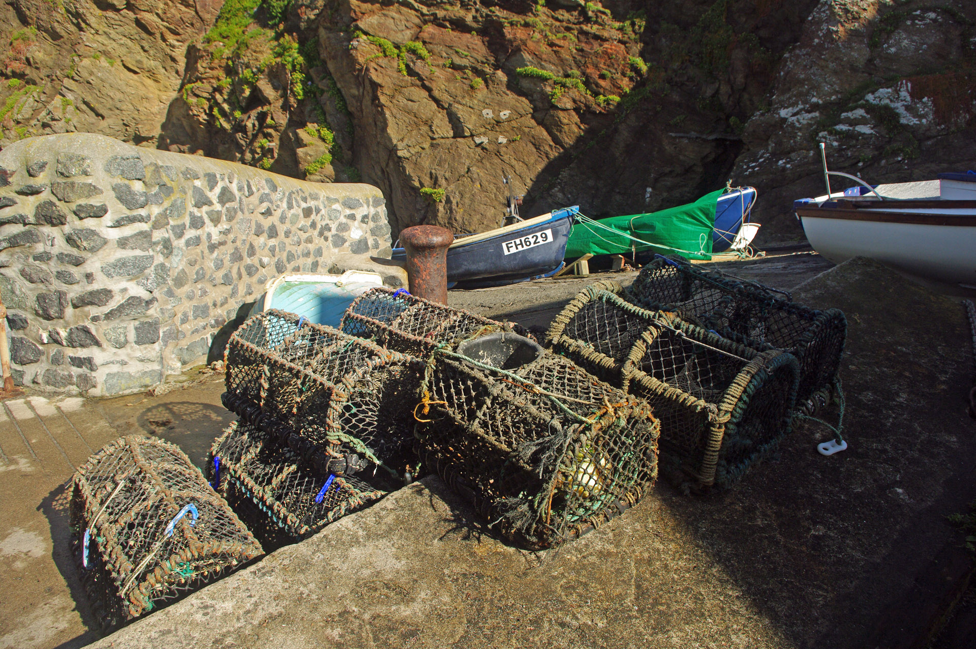 cornwall Fishermans lobster pots small harbour