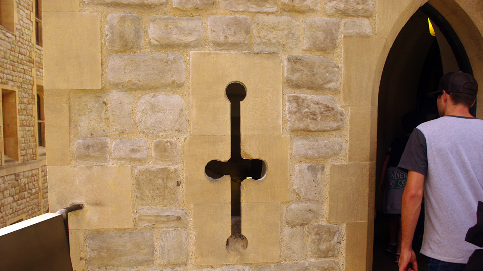 An embrasure or arrow slit - Tower of London