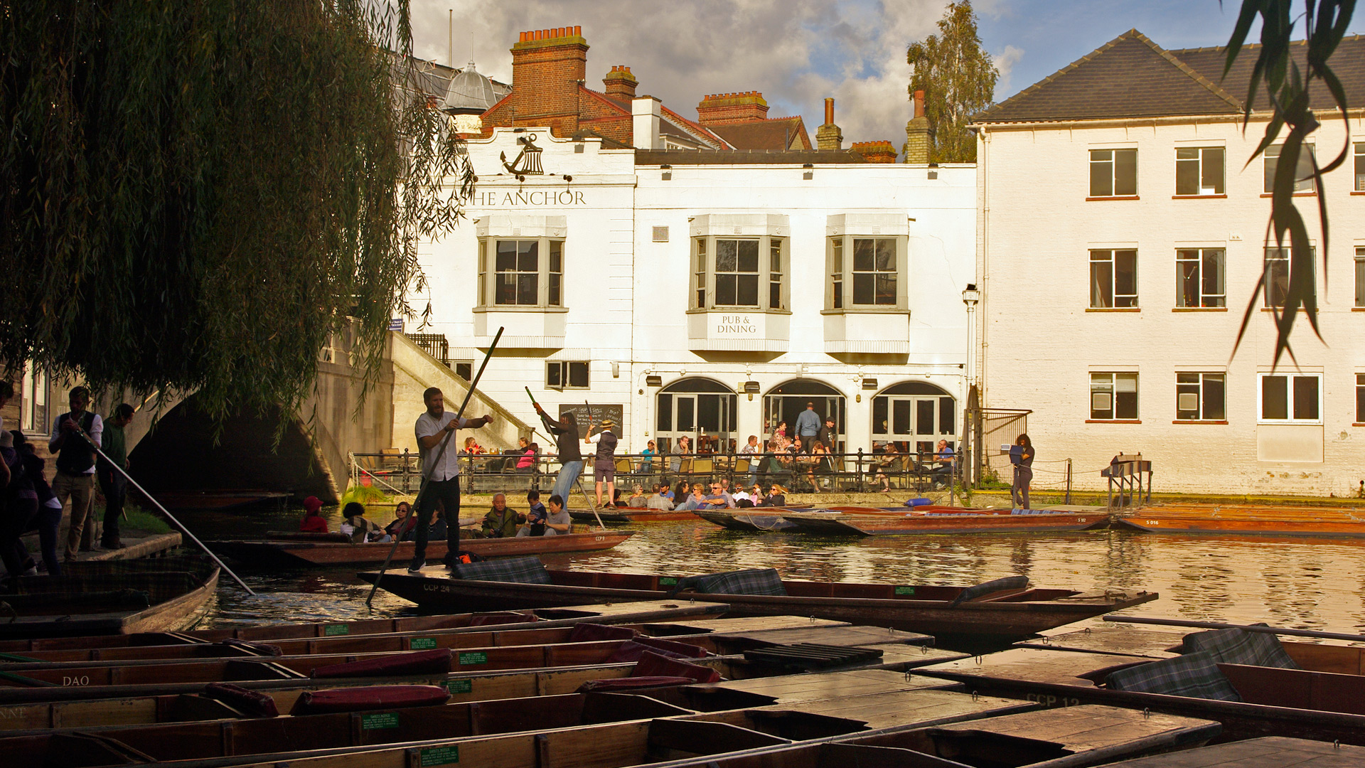 The Anchor pub and Scudamore's punting station Cambridge