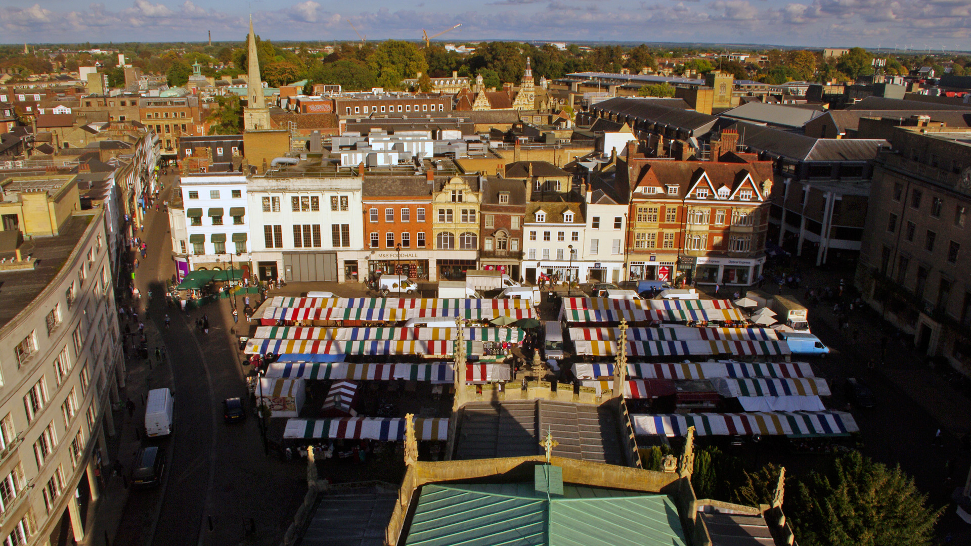 cambridge Cambridge market from roof Great St Marys church