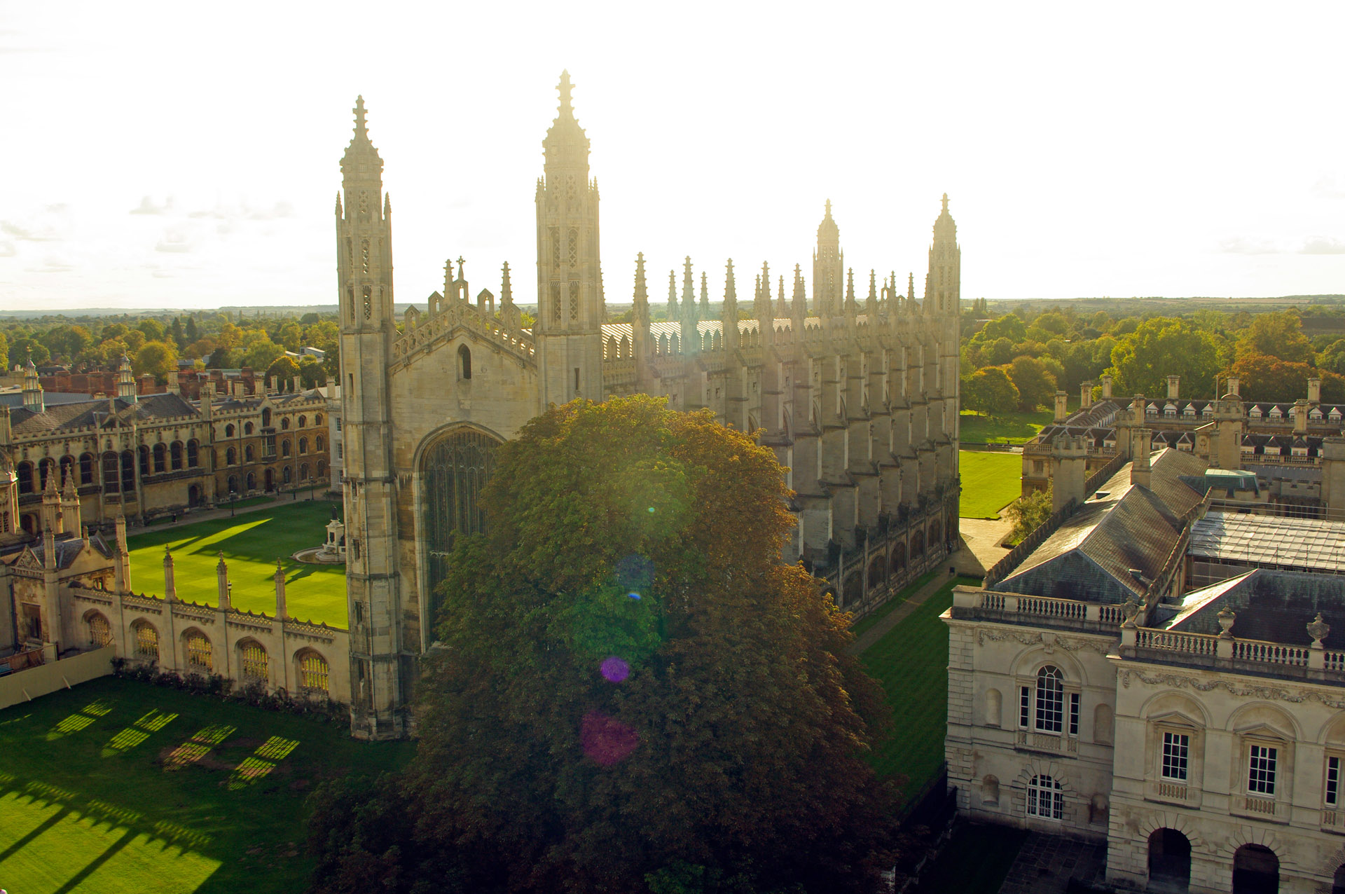 cambridge Kings College from roof Great St Marys church