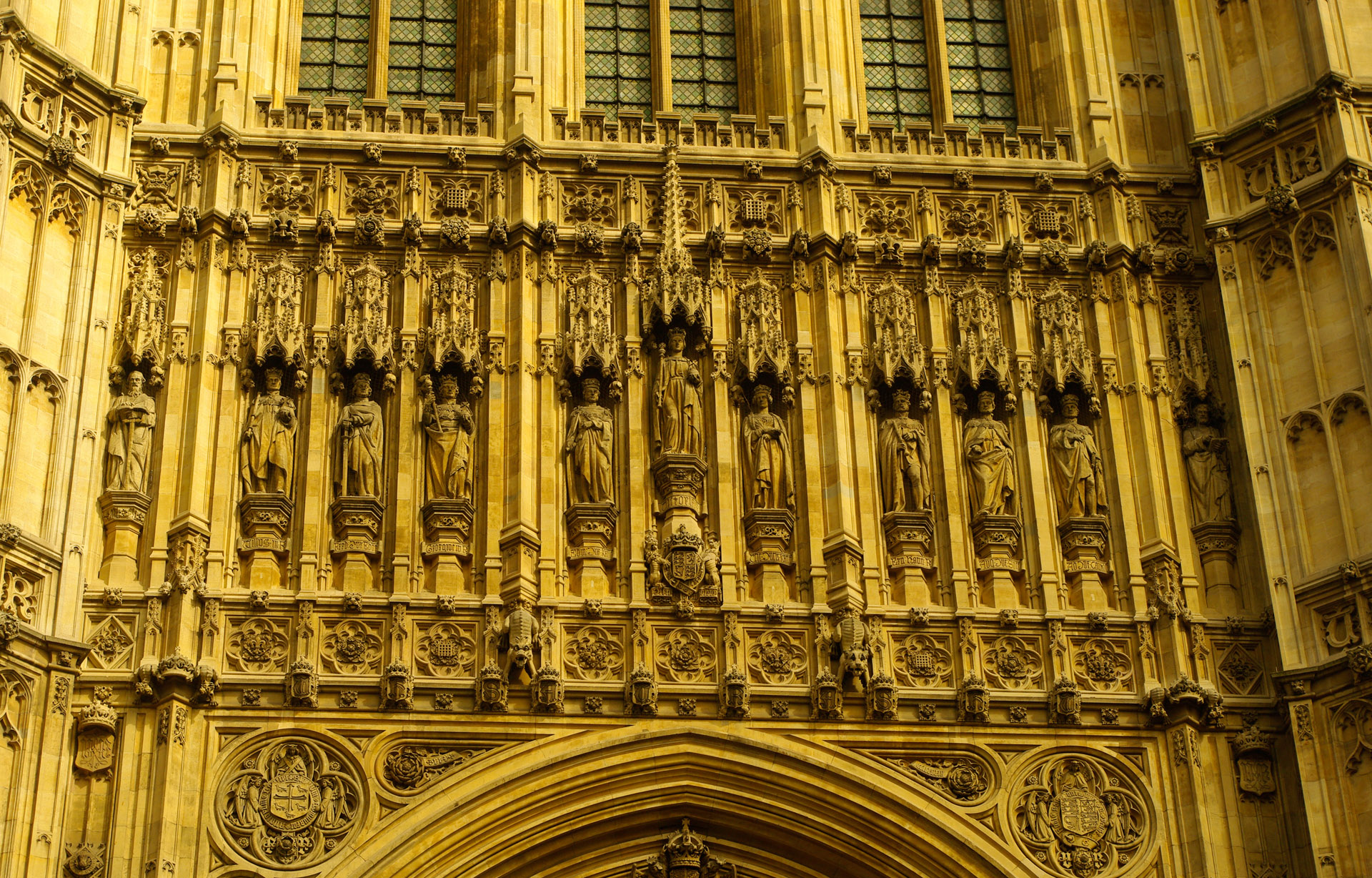 london Carvings above door Victoria Tower